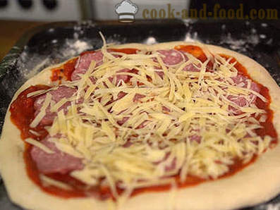 Pizza with smoked sausage - the easiest recipe