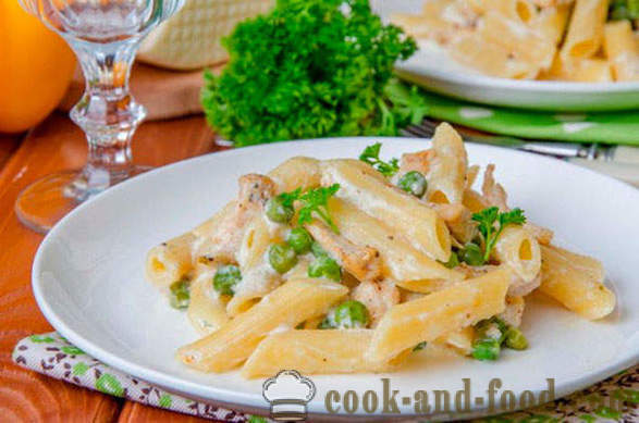Pasta with chicken in a creamy sauce