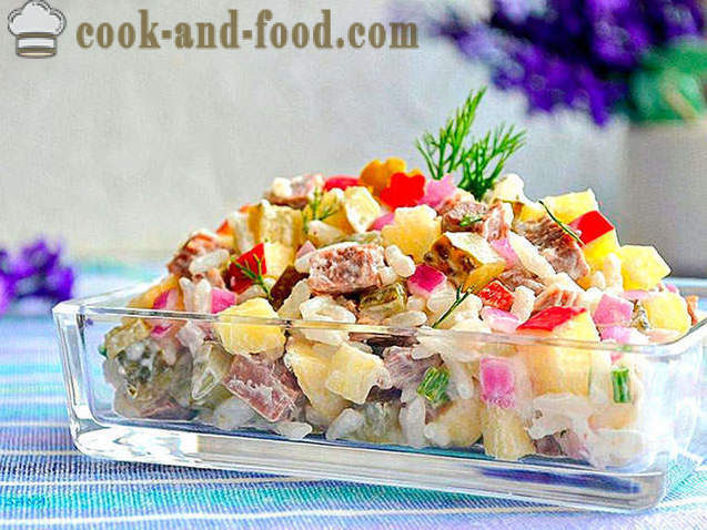 Meat salad with rice