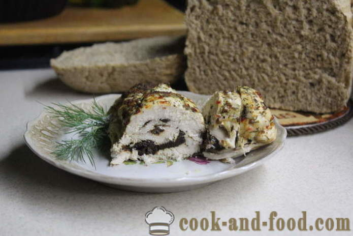 Baked chicken roll in the oven - like baked chicken roll in the oven in foil, with a step by step recipe photos
