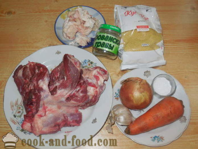 Couscous with lamb in multivarka - how to cook couscous in multivarka with meat, a step by step recipe photos