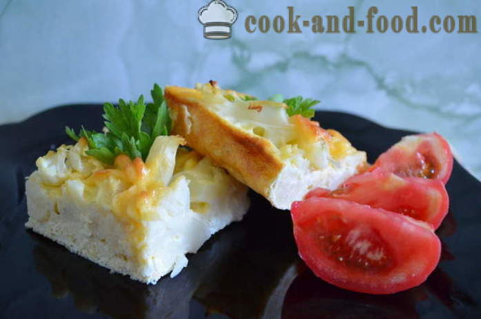 Omelette with cauliflower in the oven - how delicious cauliflower bake in the oven, with a step by step recipe photos