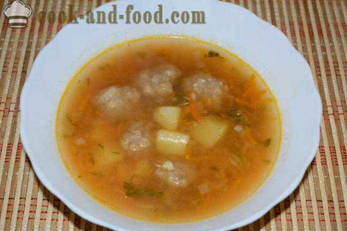 Potato soup with frozen meatballs and pickled cucumbers - how to cook potato soup with meatballs, with a step by step recipe photos