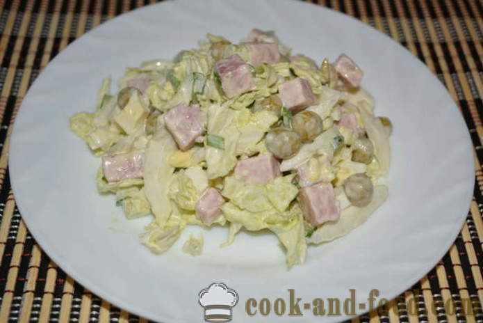 A simple salad with Chinese cabbage, ham and peas - how to prepare a salad of Chinese cabbage and ham, a step by step recipe photos
