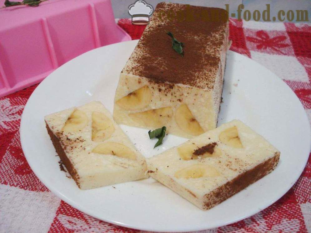 Curd dessert with gelatine and banana without baking - how to cook cheesecake dessert with gelatin, a step by step recipe photos