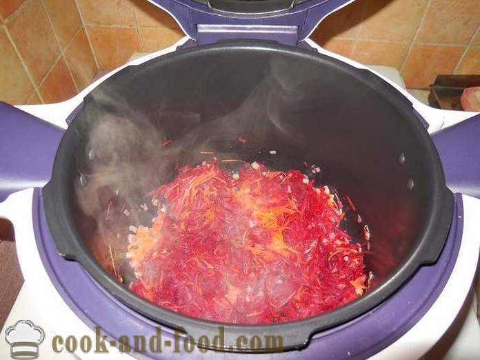 Classic Ukrainian borscht with beets, beans and meat - a step by step recipe with photos how to cook soup in multivarka.