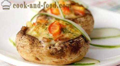 Mushrooms stuffed with cheese and baked in the oven. Simple and delicious recipes with photos.