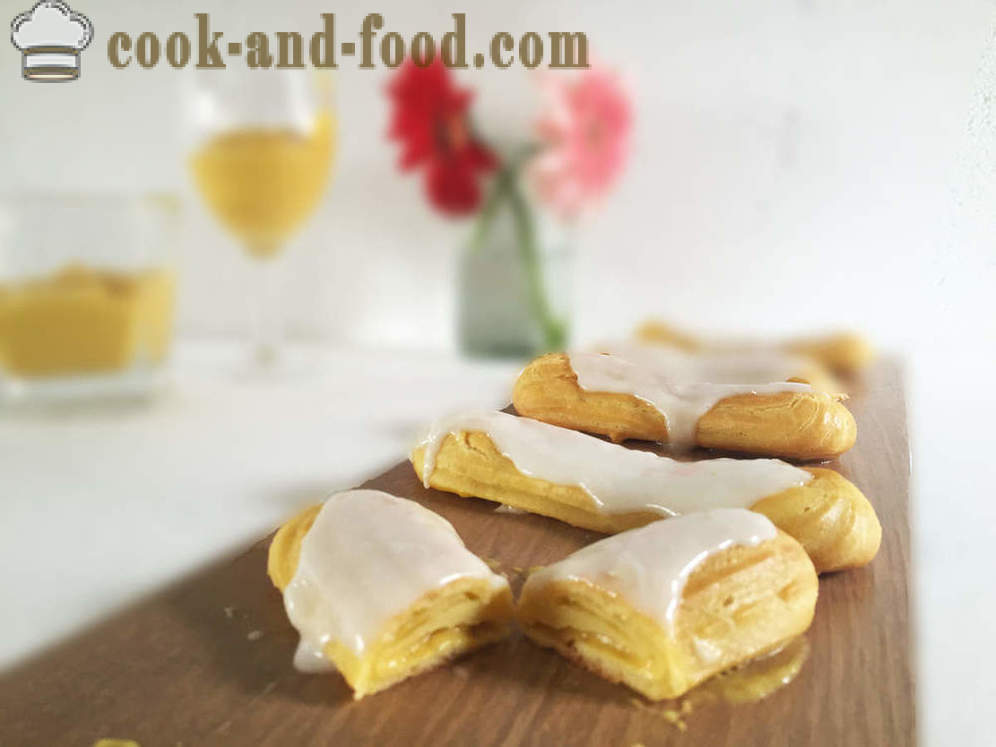 Eclairs with custard: 2 recipe
